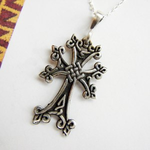 Armenian Cross Sterling Silver 925, Antique Khachqar Ornament