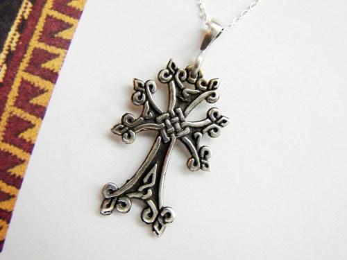 Armenian Cross Sterling Silver 925, Antique Khachqar Ornament