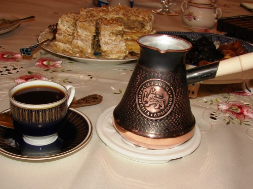 HeraCraft 9 Oz Thick 2mm Copper Turkish Greek Arabic Engraved Coffee Pot Stovetop Coffee Maker Cezve Ibrik Briki with Wooden Handle /& Wooden Pot Spoon Copper, 9 oz. for 3 People