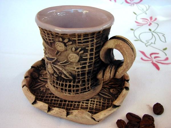 Pottery Mug, Ceramic Espresso Coffee Cup with plate Ararat Mountain