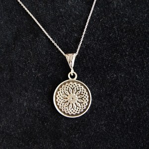 Silver Necklace Wheel of Eternity