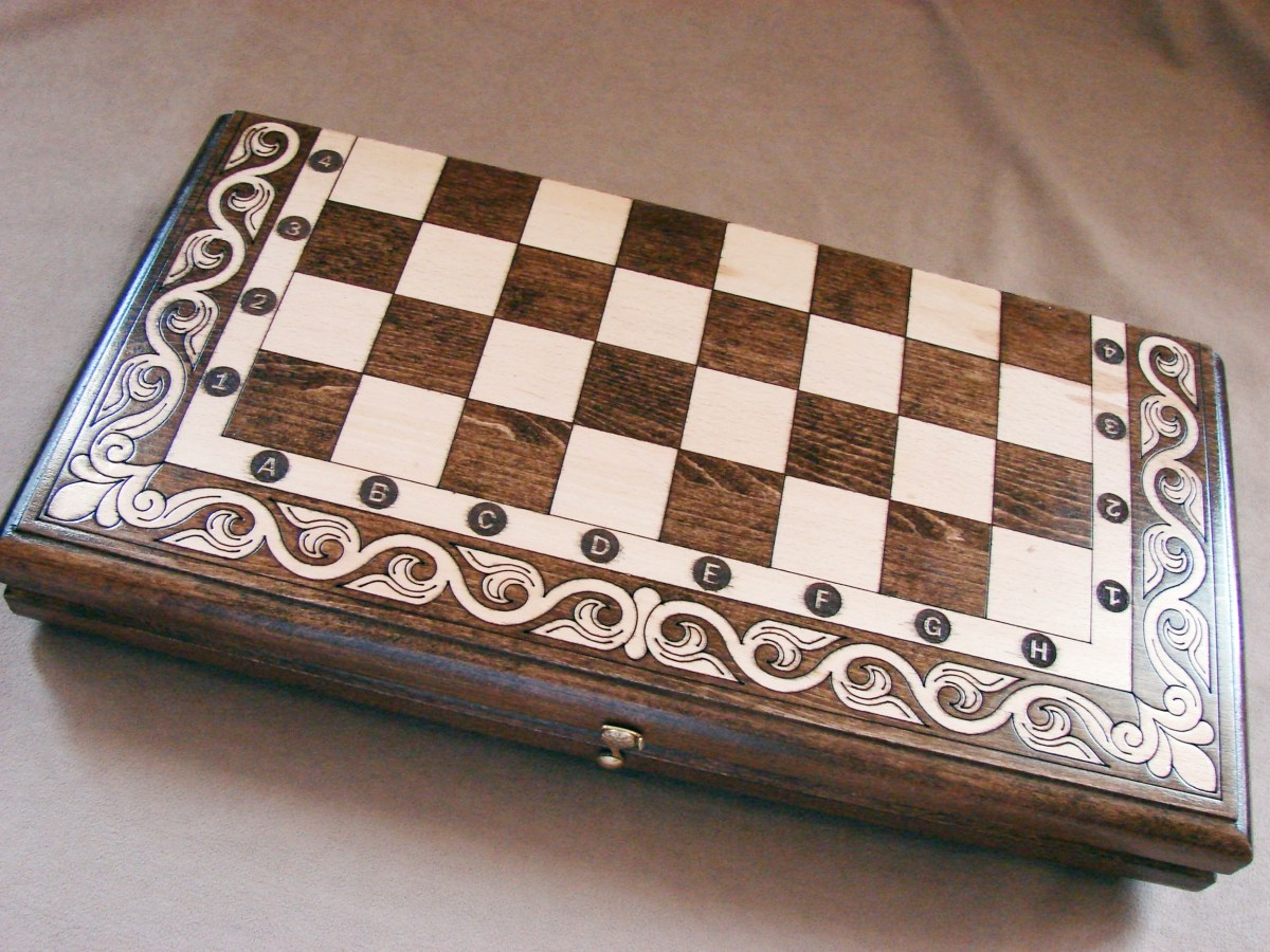 Wooden Chess Board Set and Backgammon, 2 in One Hand Carved