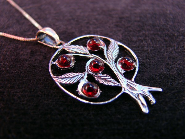 Pendant Pomegranate with Leaves Sterling Silver 925