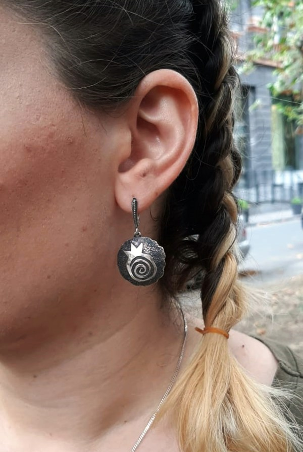 Round Pomegranate Silver Earrings