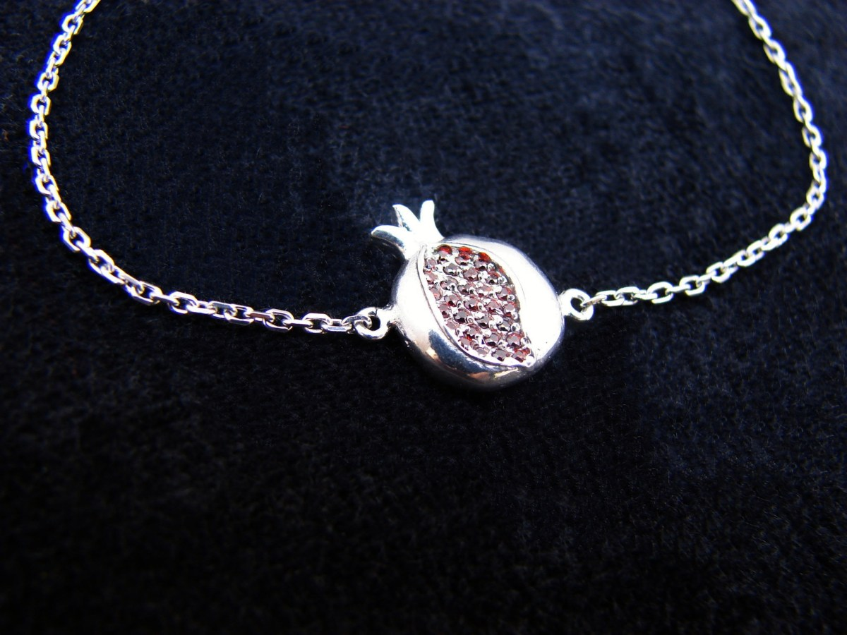 Silver Pomegranate Charm Bracelet with Red Zircon