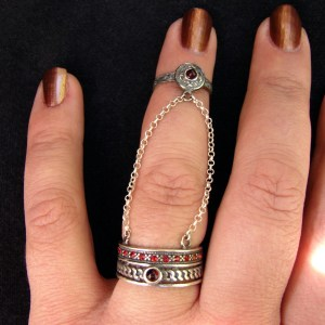 Double Rings Sterling Silver 925, chain linked, Adjustable multi-finger rings