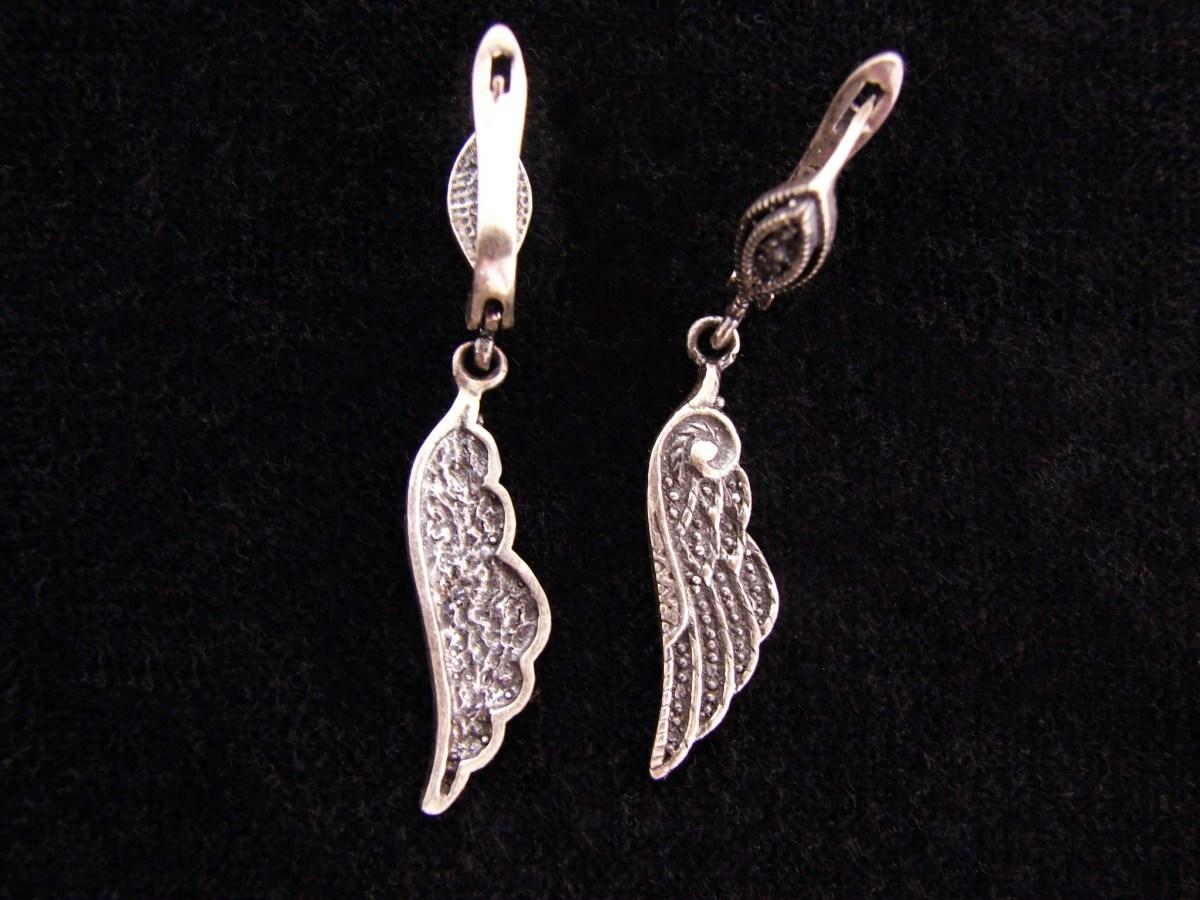 Silver Earrings Angel Wings, Dangle Earrings