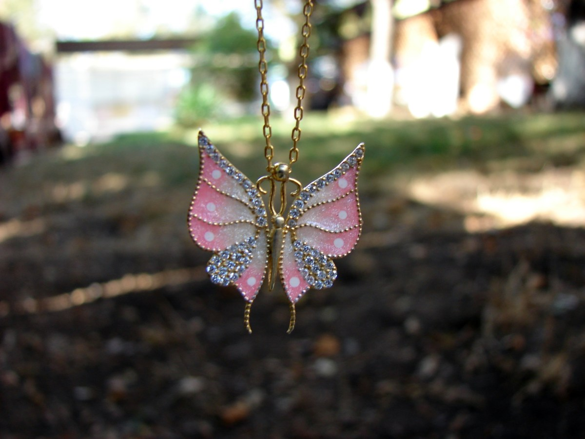Butterfly Silver Pendant Necklace, Gold Plated, Color Enamel and Zircons