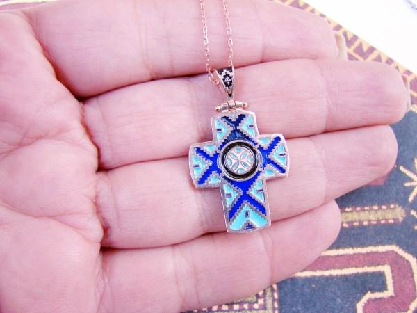Armenian Cross Enamel Pendant Ethnic Carpet Ornament