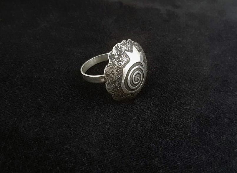 Large Ring Sterling Silver Pomegranate Design