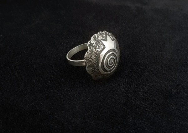 Large Ring Sterling Silver Pomegranate Design