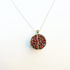 Pendant Juicy Pomegranate Sterling Silver 925 with Red Garnets
