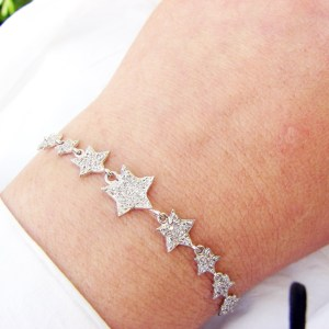 Stars Bracelet Sterling Silver 925 with Sparkling Zircons