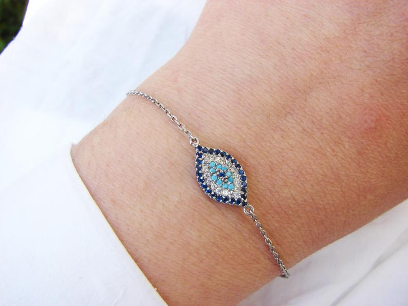 Lucky Evil Eye Bracelet Sterling Silver 925