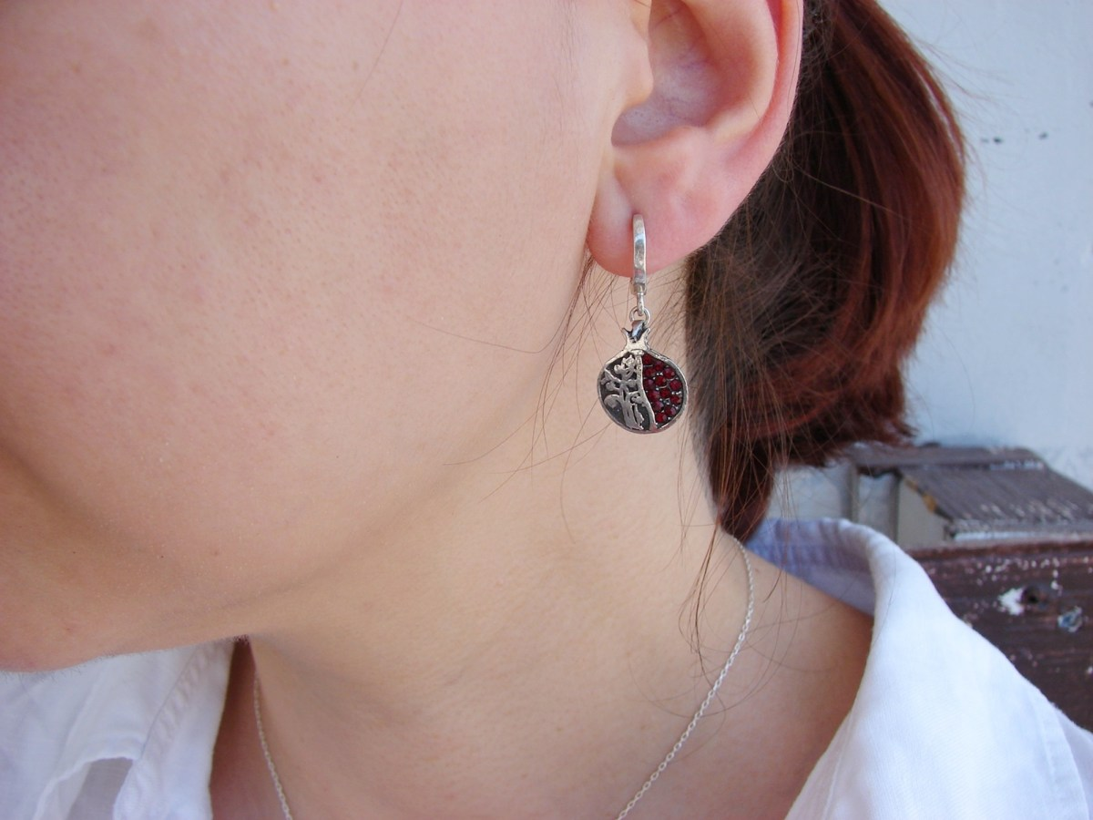Earrings Pomegranate and Tree of Life Sterling Silver 925 with Red Zircons