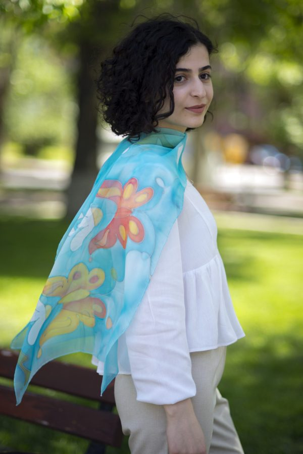 Silk Scarf Daisies and Butterflies, Hand Painted Summer Flowers Blue Scarf
