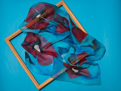Red Poppies Silk Scarf in Blue, Hand Painted Square abstract scarf