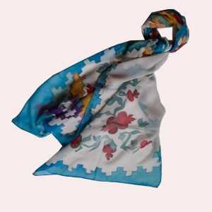 Pomegranate Silk Scarf with Armenian Carpet ornament