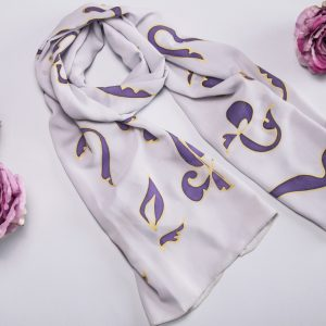 Chiffon Scarf Armenian Alphabet, White & Purple Long scarf