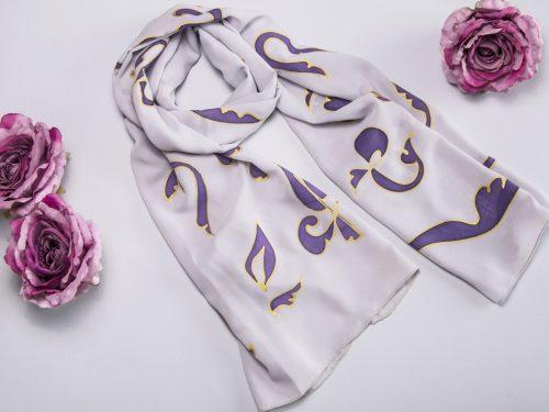 Chiffon Scarf Armenian Alphabet, White & Purple Long scarf