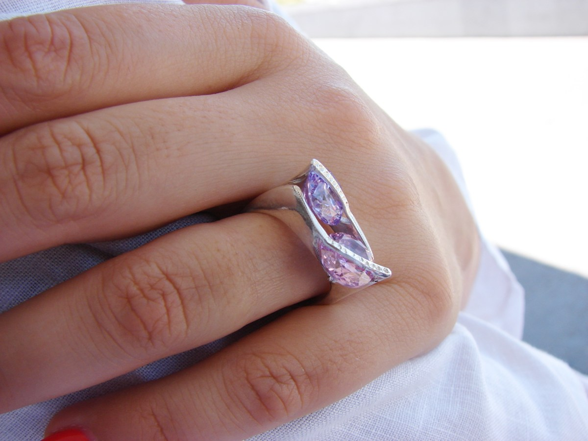 Ring with moving stones, Sterling Silver 925, Rotating Large Zircons
