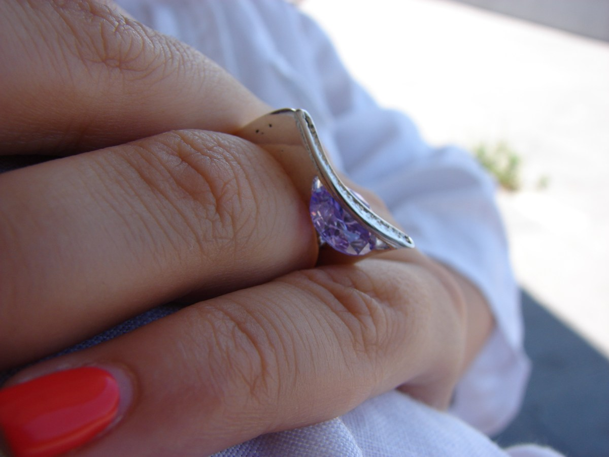Ring with moving stone, Sterling Silver 925 and Zircons