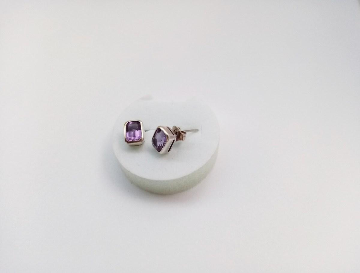 Natural Amethyst Stud Earrings, Sterling Silver 925, Gift for Her, Gemstone Earrings, Armenian Handmade Jewelry.