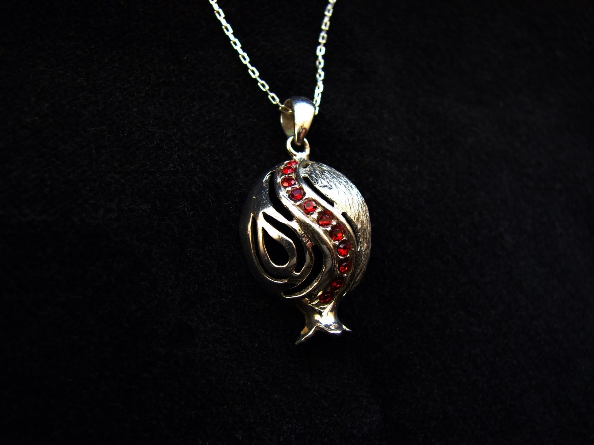 Graceful Pomegranate Pendant Sterling Silver 925 with Red Zircons