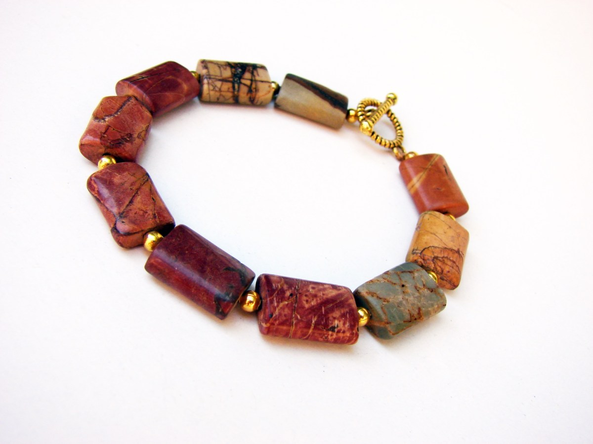 Bracelet Picasso Jasper Natural Gemstone, Handmade Jewelry, Gift for Her