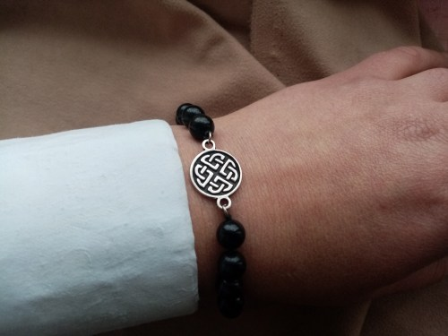 Beaded Bracelet Black Onyx Stone and Celtic Shield Knot Charm Sterling Silver 925