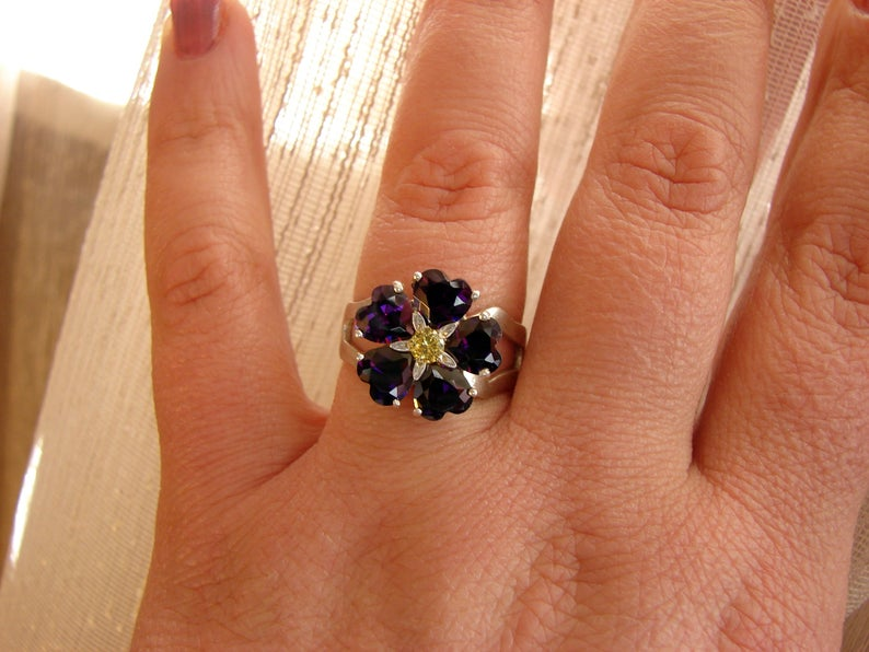 Forget me Not Flower Ring Sterling Silver 925