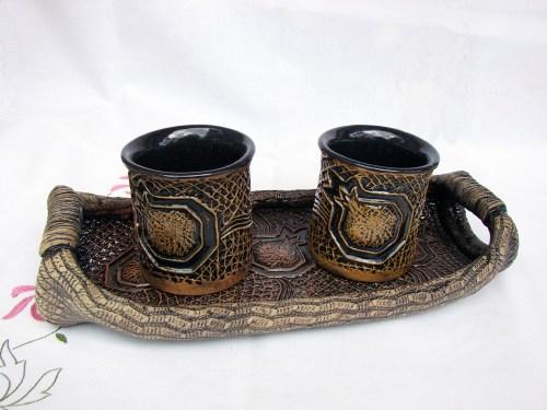 Ceramic Mugs Set with Serving Tray, Coffee Mugs