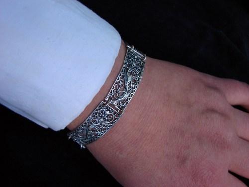 Silver Filigree Bracelet, Linked Bracelet