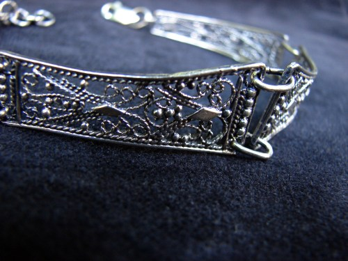 Antique Style Linked Bracelet Sterling Silver 925, Ethnic Style Bracelet, Filigree Jewelry