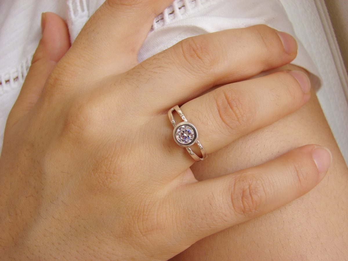 Bezel Solitaire Ring, Sterling Silver 925, Sparkling Cubic Zirconia