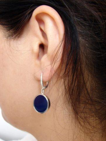Round Earrings Blue Enamel, Minimalist Earring, Sterling Silver 925, Gift for Her, Dangle Earring, Armenian Handmade Jewelry