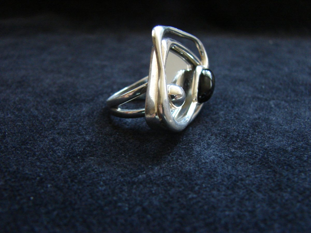 Ring with Mirror, Sterling Silver 925, Mirror jewelry, Celestial Ring, Cocktail Ring,