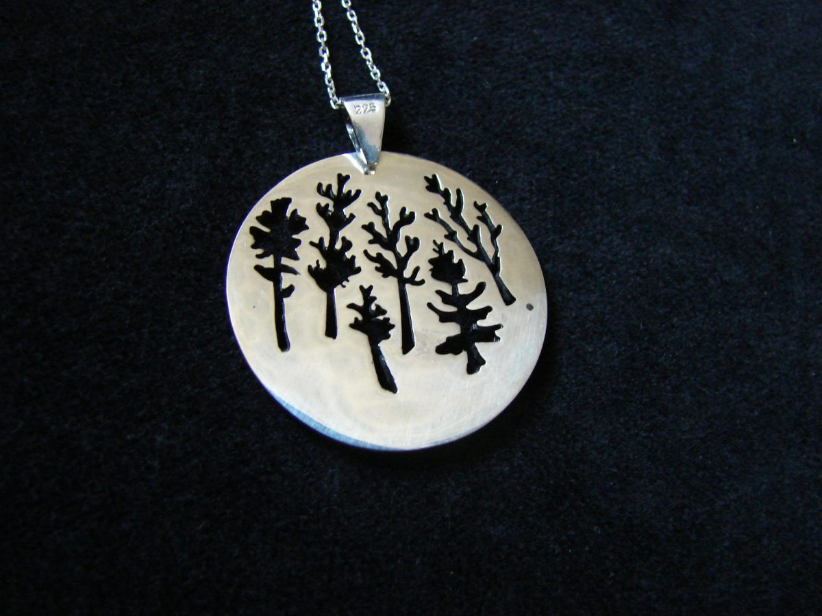 Pendant Forest Sterling Silver 925, 3D Necklace