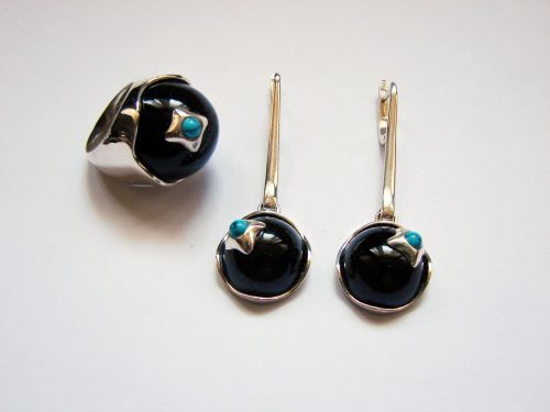 Black Onyx and Turquoise Jewelry Set, Sterling Silver 925