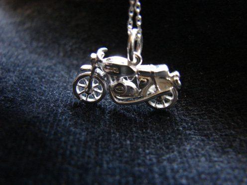 Motorcycle Pendant Sterling Silver 925, Motorbike Necklace, Sport bike charm