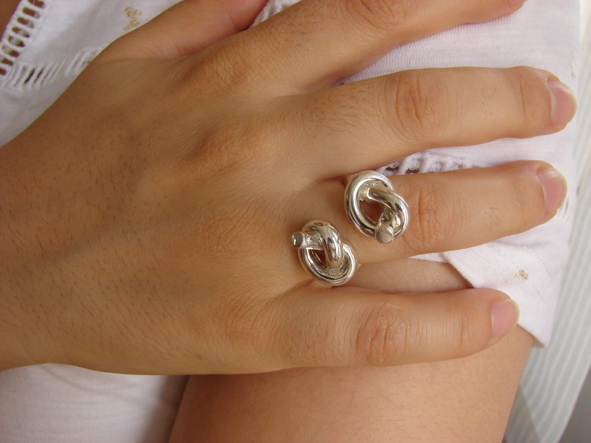 Original Ring with Knots, Sterling Silver 925, Unusual Ring, Promise Ring, Gift for Her, Open Ring, Armenian Handmade Jewelry