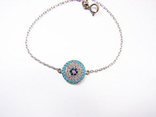 Lucky Evil Eye Charm Bracelet Sterling Silver 925