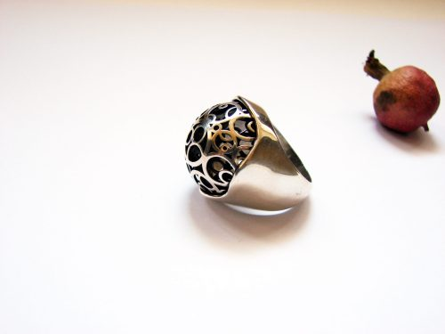 Large Openwork Ring, Sterling Silver 925, Swirl Design, Open work circles ring