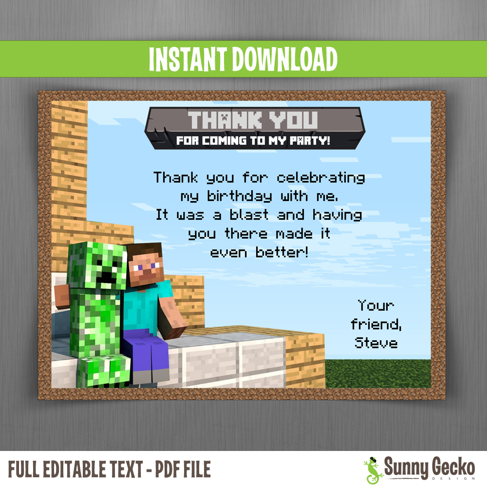 Minecraft Birthday Thank You Cards Instant Download And