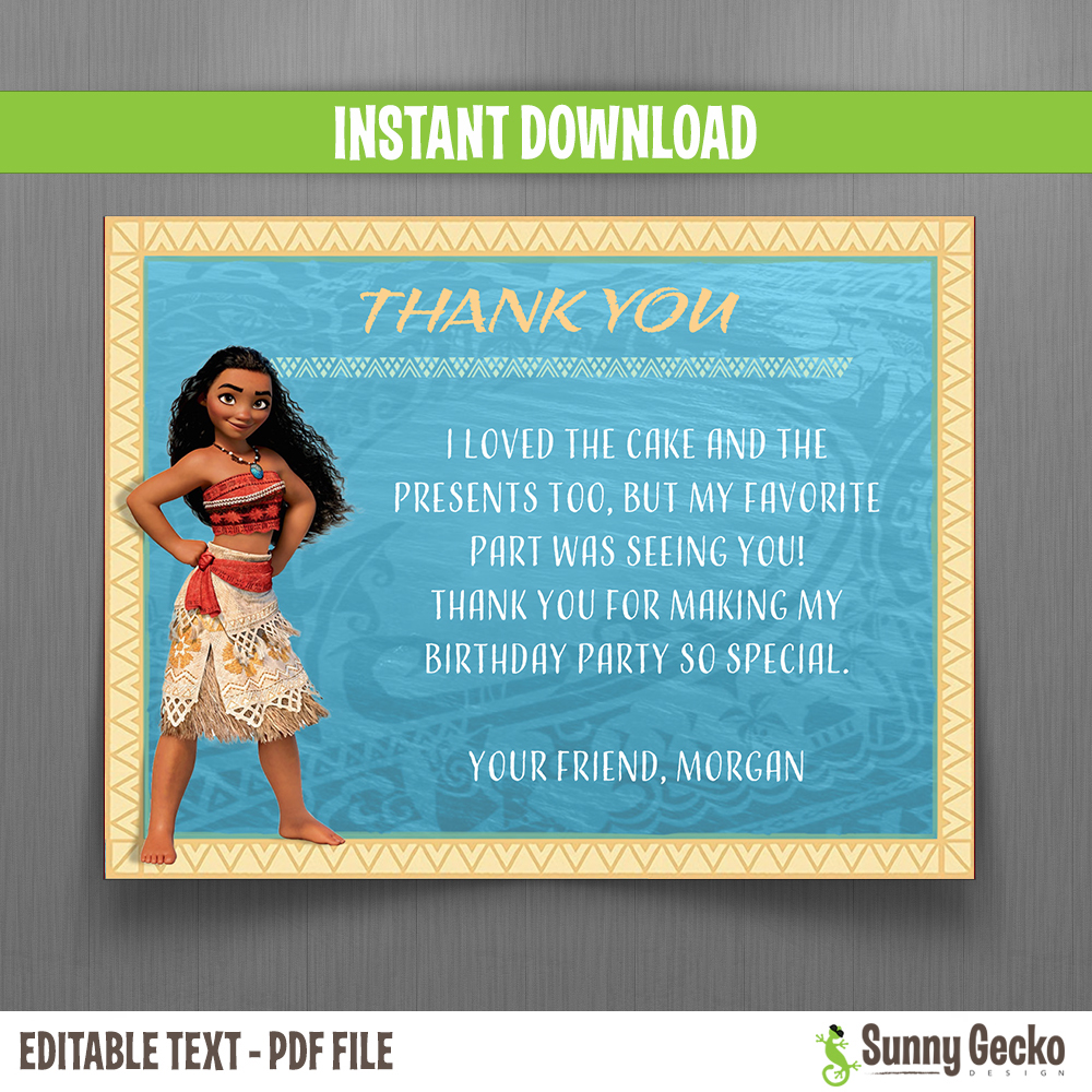 Disney Moana Birthday Thank You Cards Instant Download
