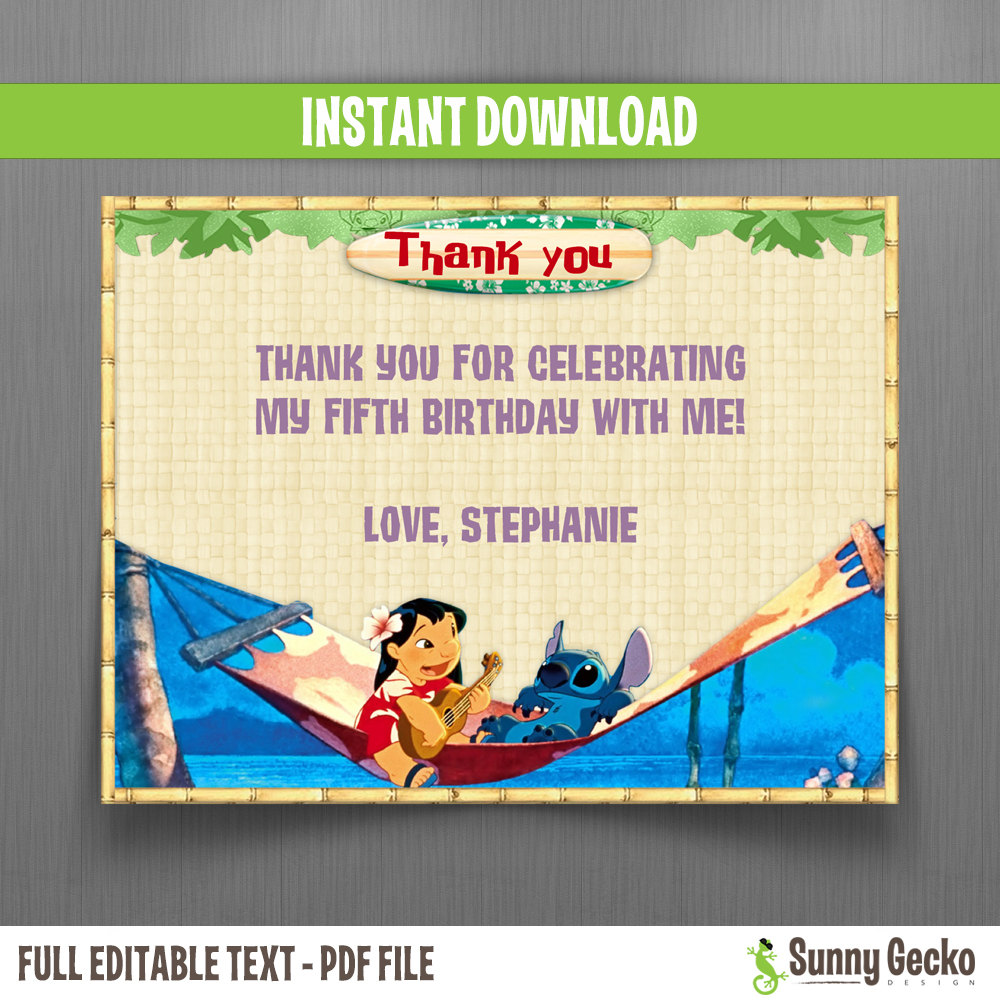 Disney Lilo And Stitch Birthday Thank You Cards Option 2