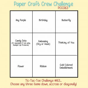 Paper Craft Crew Tic Tac Toe Challenge 163 #papercraftcrew #pamstaples #stampinup