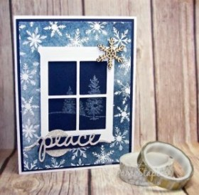 Happy Scenes Christmas with gently falling Snowflakes. Card created by Pam Staples, Design Team member of the Paper Craft Crew. #papercraftcrew #stampinup #sunnygirlscraps #happyscenes #christmascard