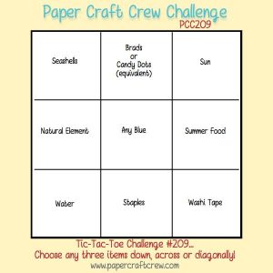 Paper Craft Crew Card Tic Tac Toe Challenge 209. Come play along! #papercraftcrew #cardsketch www.papercraftcrew.com www.sunnycraftcrew.com