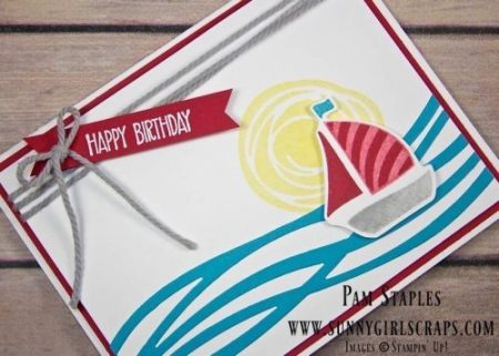 A Swirly Bird Sailboat Card celebrating a Happy Birthday created by Pam Staples for the Paper Craft Crew Tic Tac Toe Challenge #209. You are invited to come play along with the Paper Craft Crew. Visit my blog at www.sunnygirlscraps.com for more information. Play along at www.papercraftcrew.com #swirlybird #tictactoe #sunnygirlscraps #papercraftcrew